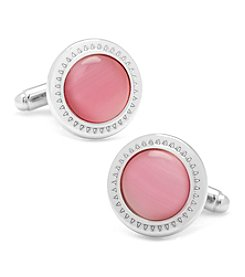 Ox & Bull Men's Pink Cat's-eye Etched Border Cufflinks
