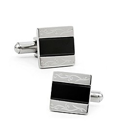 Ox & Bull Men's Stainless Steel and Black Resin Cufflinks