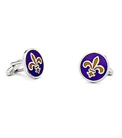 Ox & Bull Men's Purple Fleur-de-Lis Cufflinks