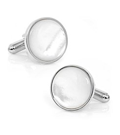 Ox & Bull Men's Silver and Mother of Pearl Cufflinks