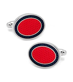 Ox & Bull Men's Red and Navy Oval Outline Cufflinks