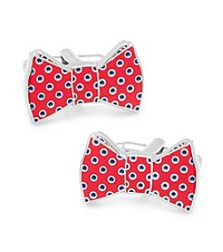 Ox & Bull Men's Red and Navy Polka Dot Bowtie Cufflinks