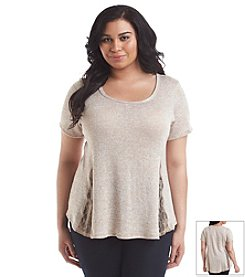 H.I.P. Plus Size Lace Inset Tee