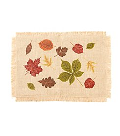 LivingQuarters Havest Leaves Fringe Placemat