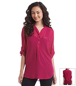 Sequin Hearts® Chiffon Utlity Shirt With Lace