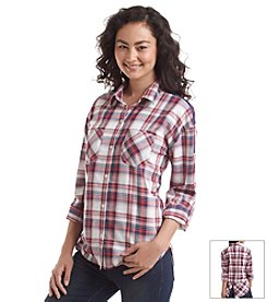 Sequin Hearts® Plaid Shirt With Zippers