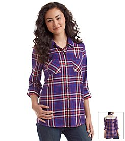 Sequin Hearts® Plaid Shirt With Lace Back