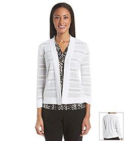 Kasper® Open Knit Stripe Cardigan