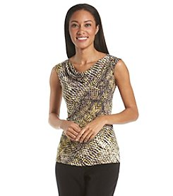 Kasper® Reptile Drape Neck Top