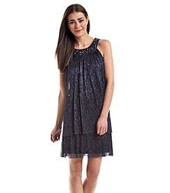 Jessica Howard® Petites' Jeweled Ribbed Dress