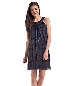 Jessica Howard® Petites' Jeweled Ribbed Dress