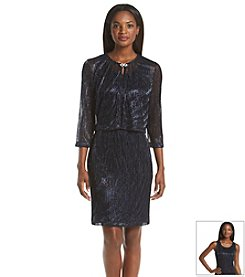 Jessica Howard® Metallic Ribbed Jacket Dress