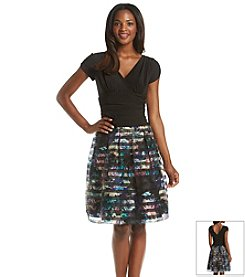 S.L. Fashions Floral Stripe Dress
