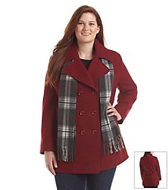 Forecaster Plus Size Double-Breasted Notch Collar Peacoat