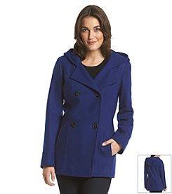 Anne Klein® Double Breasted Hooded Peacoat