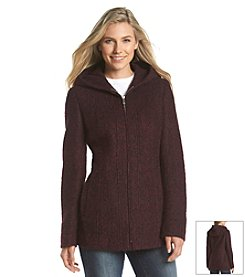 Anne Klein® Short Hooded Zipfront Coat