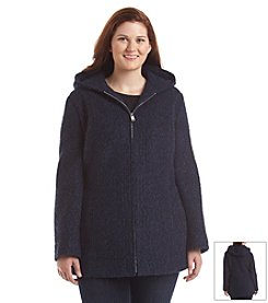 Anne Klein® Plus Size Hooded Boucle Zipfront Coat