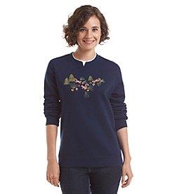 Breckenridge® Crew Neck Embellished Fleece Sweatshirt