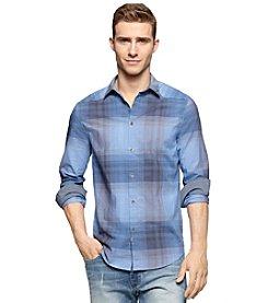 Calvin Klein Jeans Men's Long Sleeve Ombre Plaid Button Down