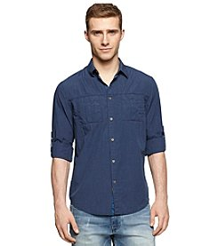 Calvin Klein Jeans Men's Long Sleeve Convertible 2-Pocket Button Down Shirt