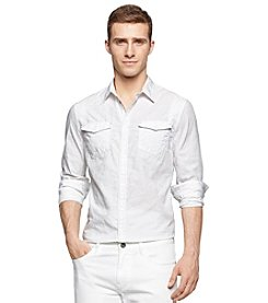 Calvin Klein Jeans Men's Long Sleeve Jacquard 2-Pocket Button Down