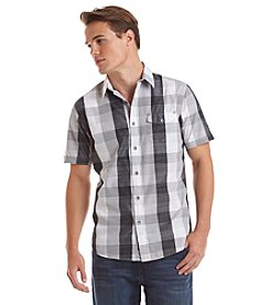 DKNY JEANS® Men's Short Sleeve Large Check Slub Button Down Shirt