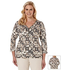 Rafaella® Plus Size Printed Zip-Front Top