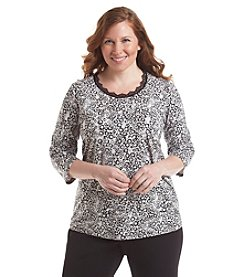 Laura Ashley® Plus Size Abstract Lace Trim Tee