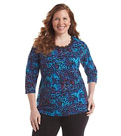 Laura Ashley® Plus Size Cheetah Lace Trim Tee