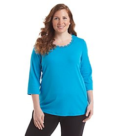 Laura Ashley® Plus Size Solid Lace Trim Tee