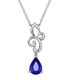 .10 Ct. T.W. Sapphire Necklace In 10K White Gold