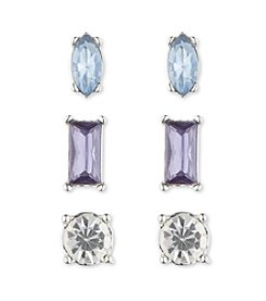 Nine West® Set Of Three Stud Earrings In Silvertone With Blue And Purple