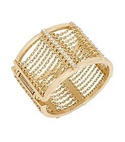 Kenneth Cole® Goldtone Pave Multi Chain Hinged Wide Bangle Bracelet