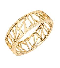 Kenneth Cole® Goldtone Geometric Cut Out Stretch Bracelet