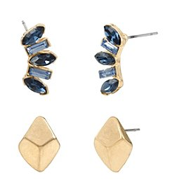 Kenneth Cole® Mixed Faceted Stone Cluster & Goldtone Duo Stud Earrings Set