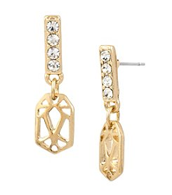 Kenneth Cole® Goldtone Pave Stick Geometric Cut Out Drop Earrings
