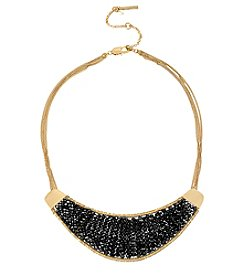 Kenneth Cole® Goldtone Woven Faceted Bead Crescent Frontal Necklace