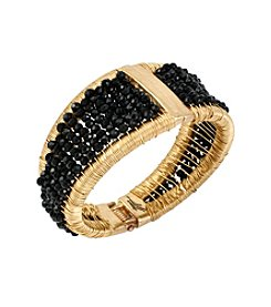 Kenneth Cole® Goldtone Woven Faceted Bead Hinged Bangle Bracelet