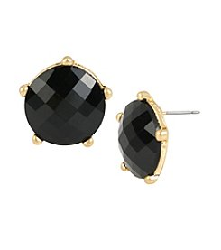 Kenneth Cole® Goldtone Faceted Stone Button Stud Earrings
