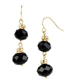 Kenneth Cole® Goldtone Faceted Bead Double Drop Earrings
