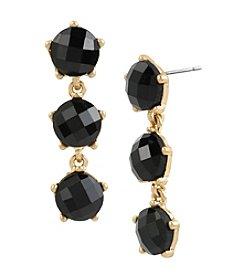 Kenneth Cole® Goldtone Faceted Stone Triple Drop Earrings