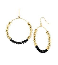 Kenneth Cole® Goldtone Mixed Bead Hoop Drop Earrings