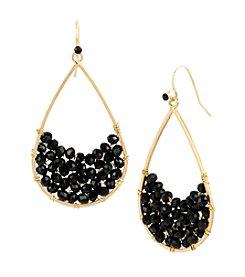 Kenneth Cole® Goldtone Woven Faceted Bead Teardrop Earrings