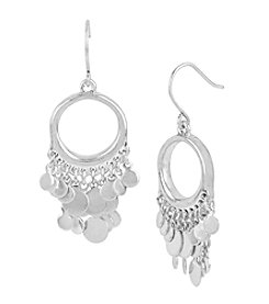 Kenneth Cole® Shaky Disc Round Silvertone Drop Earrings