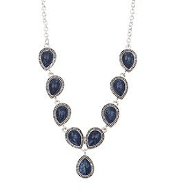 Nine West Vintage America Collection® Silvertone And Denim Stone Y-Necklace