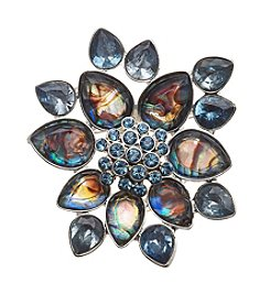 Napier® Silvertone And Blue Stone Boxed Brooch