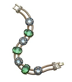 Napier® Goldtone And Green Bead Slider Bracelet In Gift Box