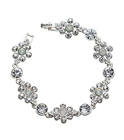 Napier® Silvertone And Simulated Crystal Bracelet In Gift Box