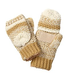 Isotoner® Signature Striped Popcorn Stitch Flip Top With Suede Palm Patch Gloves