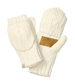 Isotoner® Signature Chunky Solid Cable Flip Top Gloves With Suede Palm Patch